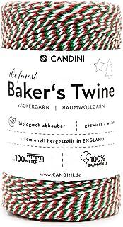 Candini Bäckergarn Rot Weiß Grün | 100m | weiches Bastelgarn aus Baumwolle - Premium Qualität aus England - Bakers Twine - Weihnachten, Bastelschnur, Baumwollschnur, Geschenkband