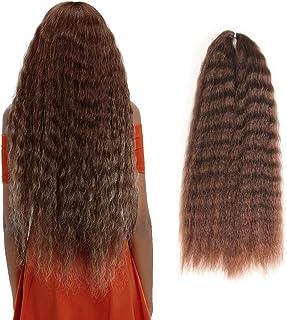 """FASHION IDOL Yaki Straight Hair Long Big Wave 20"""" Straight Curly Wave Crochet Hair Natural Wave Kanekalon Braiding Hair Ki..."""