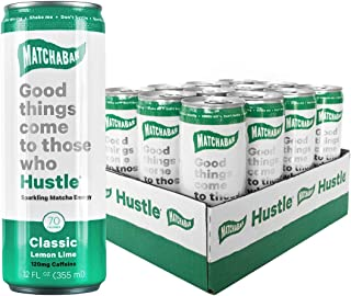 MatchaBar Hustle Energy Drink, Original Sparkling Natural Matcha Energy with Caffeine, Antioxidants, L-Theanine. 12 fl. oz. (Pack of 12)