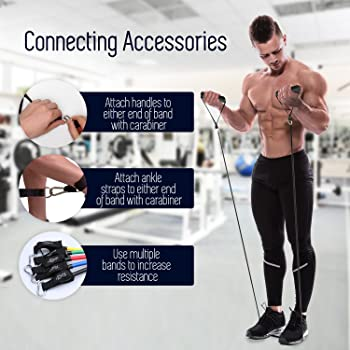Resistance Bands - Tension Band Set for Weights Exercise, Fitness Workout - Heavy Resistant - Comes with Door Anchor ...