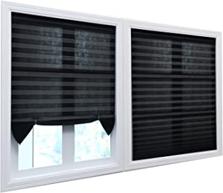 BOBOTOGO 6 Pack Cordless Pleated Light Filtering Fabric Shade Temporary Window Blinds Home, Black, 48 inch x 72 inch