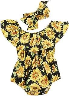 Newborn Baby Girls Sunflower Romper Off Shoulder Bodysuit Jumpsuit Sunsuit Outfits Set Clothes