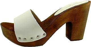 Silfer Shoes - Zoccolo in Vera Pelle, Colore Bianco