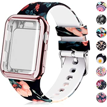 Compatible for Apple Watch Band with Screen Protector Case, Soft Silicone Sport Wristband for Apple Watch iwatch Series 3 2 1 (38mm,Floral Pattern)