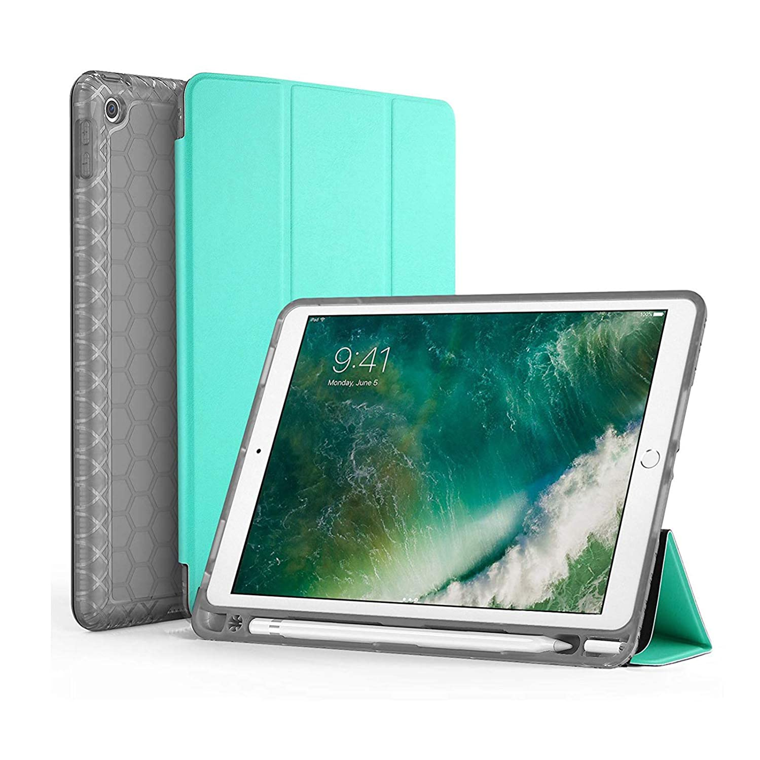 SWEES Compatible iPad 9.7 2018/2017 Case with Pencil Holder, Shockproof Durable Smart Cover Leather Case with Built-in Apple Pencil Holder Compatible iPad 9.7 inch 6th/5th Generation, Mint Green
