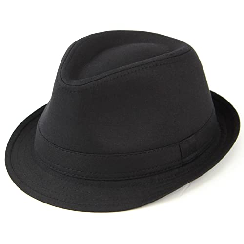 Hawkins plain cotton trilby hat black or white a12560fd02b1
