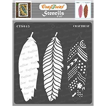 Grekywin Hollow-Out Feather Stencil Template for Wall Painting 2 Pcs. DIY Craft Tool Reused Plastic Drawing Template