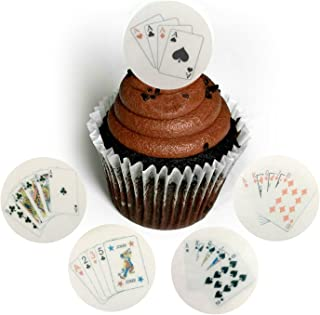 Playing Cards Poker Gambling 21 Las Vegas 1.5 Inch Wafer Paper Toppers for Decorating Desserts Cupcake Pack of 24