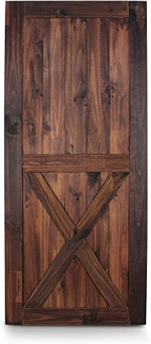 """wholesale BELLEZE 36"""" x lowest 84"""" Classic Lower X Sliding Barn new arrival Door Unfinished Solid Pine Wood DIY Single Door Pre Drill, Espresso outlet sale"""