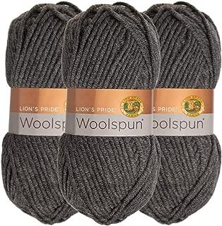 Lion Brand (3 Pack) Woolspun Acrylic & Wool Soft Charcoal Gray Yarn for Knitting Crocheting Bulky #5