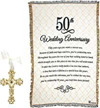 Mixed 50th Wedding Bundle | Gold Plated Filagree Cross and Cotton Tapestry Throw