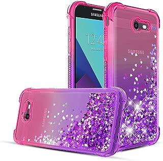 Samsung Galaxy J3 2017 Case,Galaxy J3 Emerge/J3 Prime/J3 Eclipse/J3 Mission/Express Prime 2/J3 Luna Pro/Amp Prime 2/Sol 2 Phone Case,Glitter Quicksand Protective Phone Cover-Pink/Purple