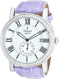 Venice F5011-IPS-PU Crocodile Embossed Leather Stones Embellished Bezel Round Analog Watch for Women - Lilac
