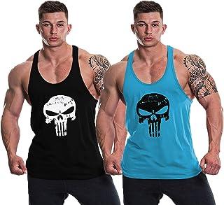 THE BLAZZE 0015 Men's Skull Gym Tank Gym Tank Stringer Tank Tops for Men Gym Vest for Men Sleeveless Bodybuilding Gym Tank...