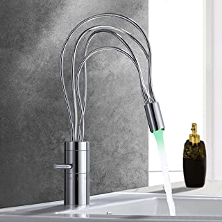 Jiuzhuo Modern Single Handle Single Hole Nest LED Bathroom Sink Faucet