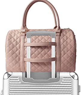 Womens Quilted Weekender Duffle Carry Bags Overnight Travel Handbag Shoulder Tote Trolley Handle Luggage TSA Approved Bag Quad Duffle 43 (Pink-03)