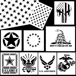 Whaline American Flag Stencil Military Series Template Marine Corps, Army, Air Force for Painting on Wood, Fabric, Paper, Airbrush, Walls Art (10 Pack)