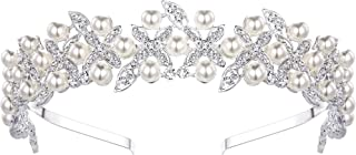 BriLove Women's Boho Style Wedding Bride Crystal Leaf Ivory Color Simulated Pearl Romantic Headband Clear Silver-Tone