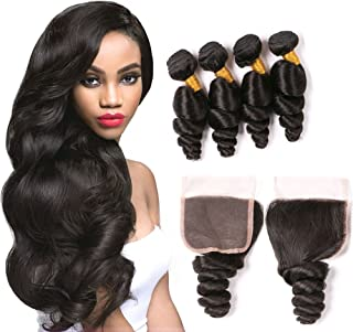 Peruvian Loose Wave Bundles With Closure Per Plucked Bleached Knots 4X4 Swiss Lace Top Quatily Brazilian Virgin Hair 4 Bundles Real Unprocessed Human Hair Weave Wholesale Deals 1B 20 22 24 26+18Inch
