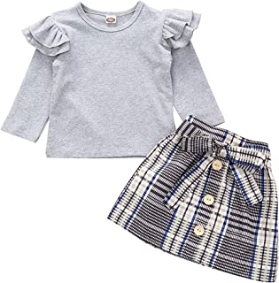 2pc Casual Toddler Kid Baby Girl Clothes Set White Lace Long Sleeve Tops T-Shirt Plaid Print Skirt Outfits