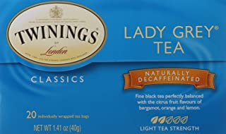 Twinings of London Decaffeinated Lady Grey Black Tea Bags, 20 Count