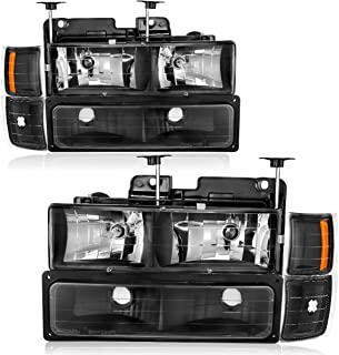 For 1994-1998 Chevy Silverado Tahoe Suburban Healights OEDRO Replacement C10 C/K 1500/2500 / 3500 Suburban 1500/2500 Black Housing +Bumper Amber Coner Headlamps Left+Right, 2-Yr Warranty