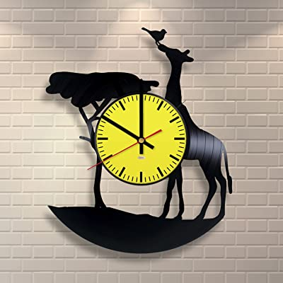 Amazon Com Giraffe Figurines Design Vinyl Record Wall Clock Get Unique Bedroom Wall Decor Gift Ideas For Youth And Teens Unique Modern Fan Art Home Kitchen