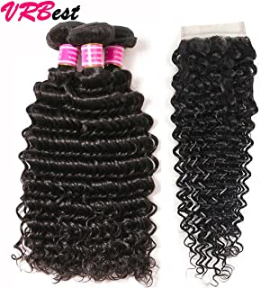 VRBest Brazilian Deep Wave With Closure 100% Unprocessed Virgin Brazilian Hair 3 Bundles Deep Curly Human Hair Extensions With Lace Closure (20 22 24 + 18)