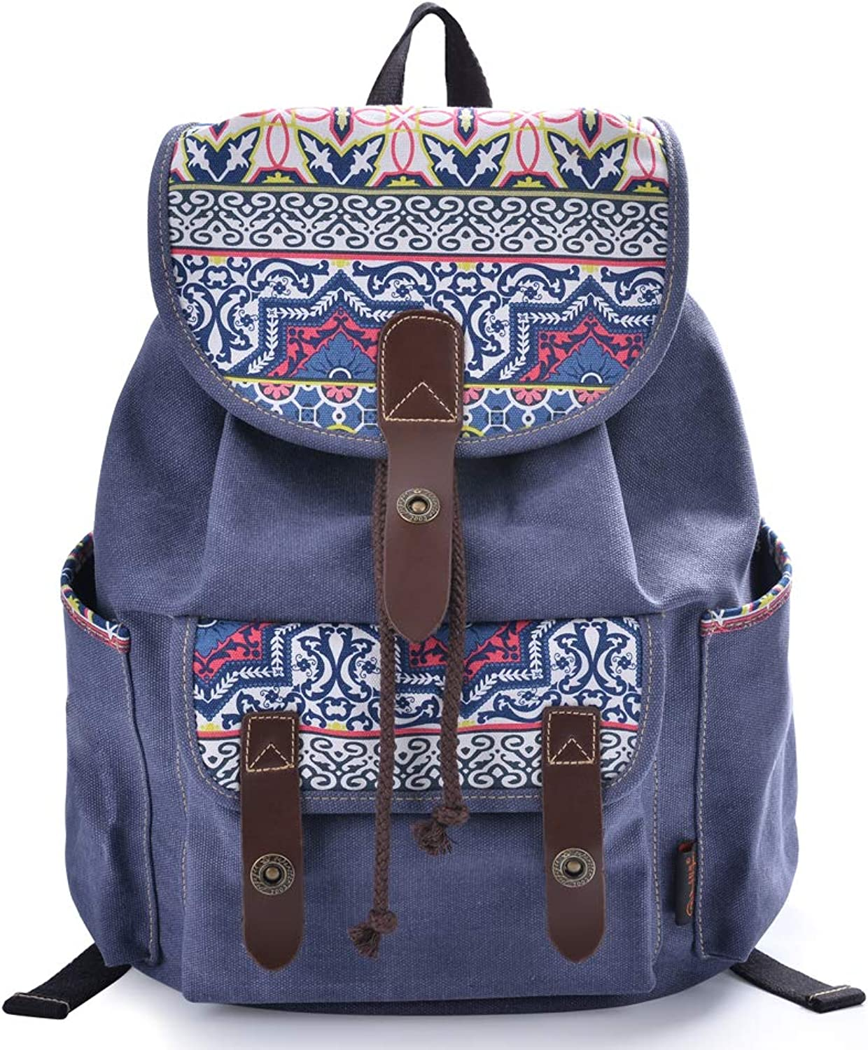 Lt Tribe Girls Casual Canvas Backpack Floral College Backpack Laptop Daypack blueee G00137