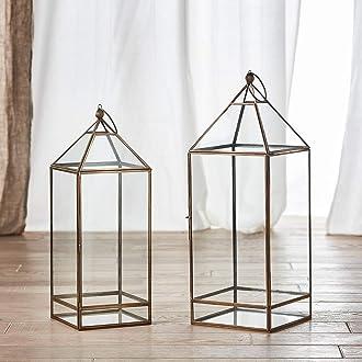 Lights4fun 2er Set Artisan Glas Laternen Leif 60 /& 40cm inkl 2er Set TruGlow/® Kerzen