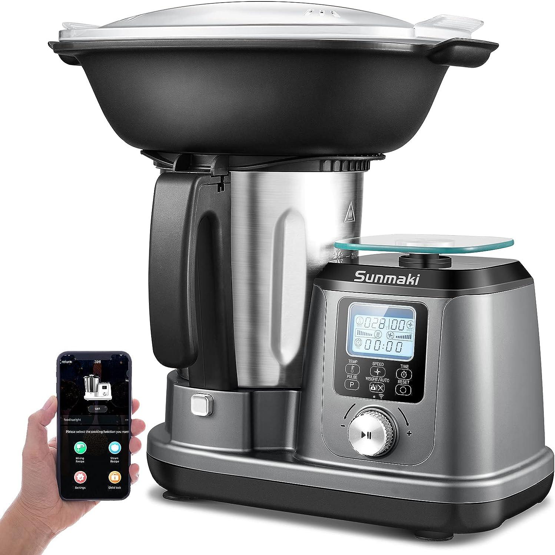 Máquina de cocina Sunmaki Robot de Cocina multifunción con plataforma de pesaje Modos automáticos 10 velocidades Temperatura ajustable con temporizador Pantalla LCD Controlado por móvil