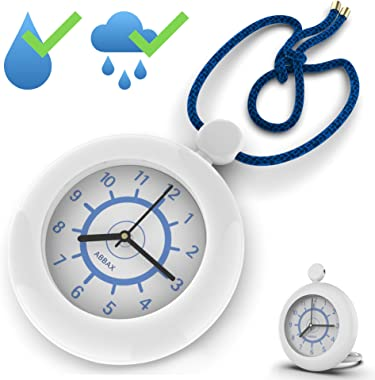 Abbax Shower Clock Waterproof Hanging Rope Clock with a Built-in Stand - Great Bathroom Poolside Outdoor Clocks