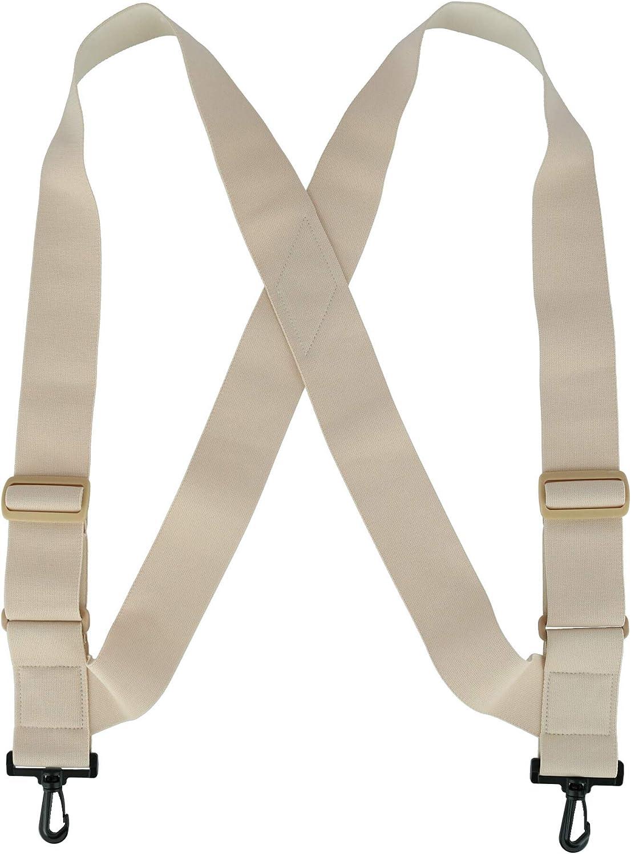 CTM Big & Tall Elastic TSA Compliant Side Clip Suspenders with Swivel Hook Ends