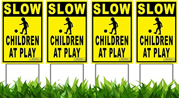 Vibe Ink 12 X 18 Slow Children At Play 4 Pack Caution Yard Signs Lawn Sign W Metal Stakes