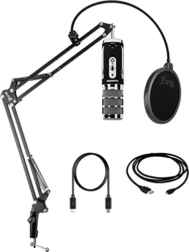 popular Samson Satellite USB/iOS popular Broadcast Microphone outlet online sale for Recording, Podcasting, and Streaming (SASAT) - Compatible with iOS, Mac, Windows Bundle with Blucoil Boom Arm Plus Pop Filter online