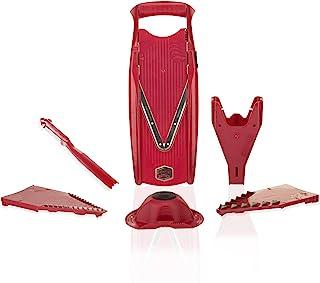 Börner Mandoline V5 Powerline Plus Set-Coupe-légume & fruit professionnel en tranche fine + poussoir de sécurité - Rouge