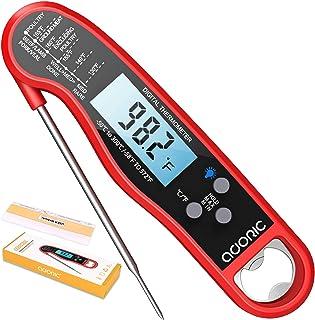 Termómetro digital de carne Lectura instantánea, Termómetro Adoric impermeable para alimentos con retroiluminación LCD, so...