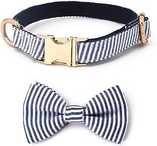 Free Sunday Blue Stripe Seersucker Dog Bow Tie Dog Collar Dog Leash for Small Dog,