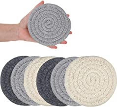 XIAMOOR Coasters for Drinks, Handmade Braided Drink Coasters, Set of 6 (4.3 Inch, Round, 8mm Thick), Super Absorbent Heat-Resistant Coasters for Drinks, Great Housewarming Gift (Set 2)