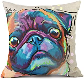 "Best Redland Art Cute Pet Bulldog Dog Pattern Throw Pillow Covers Cotton Linen Cushion Cover Cases Pillowcases Sofa Home Decor 18""x 18""Inch 45cm Review"