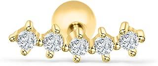 14K Gold Plated Stainless Steel Lucky Simulated Diamond Star Cz Modern Slim Skinny Curved Line Bar Stick Ear Stud Earring Piercing 16g For Women Girls Men