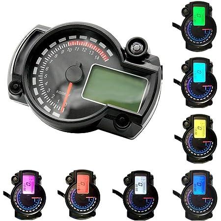 Chsggdea Motorrad Tachometer Odometer Drehzahlmesser Universal 12v 0 15000 Rpm Lcd Digital Tacho Km H Kilometerzähler Mit 7 Farben Lcd Backlight Digitalanzeige Für Roller Scooter Auto