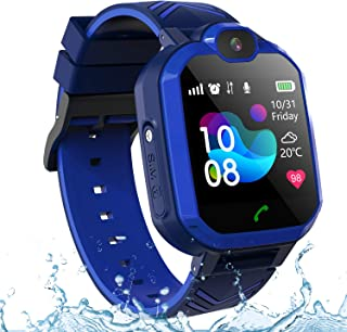 PTHTECHUS Kids Smartwatch Phone IP67 Waterproof, New Boys Girls Watch with LBS/AGPS Locator 2Way Call SOS Voice Chat Camera Alarm Clock Sport Watch Gift for 3-12 Years Old Childrens (02-2G LBS Waterproof Blue)