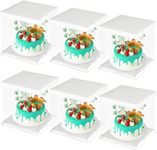 CODOHI 6 Packs Clear Plastic Birthday Cake Carrier Bakery Packaging Boxes Transparent Baking Cookie Display Pack Box Carry...