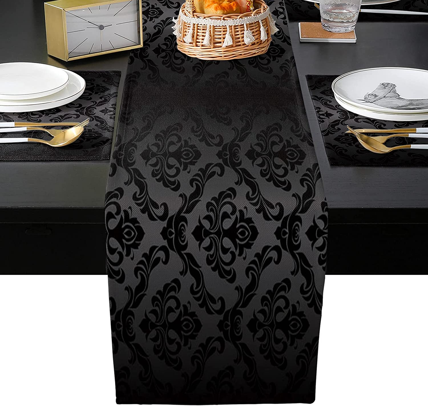 Memphis Mall OneHoney Black Mandala Pattern 67% OFF of fixed price Art and Table Se Placemats Runner