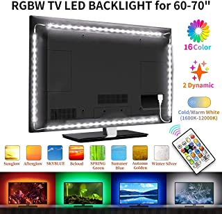 Bason LED TV Backlight- White+RGB Led Light Strip, 16 Colors Waterproof LED Lights for TV, USB Bias Lighting with Remote for Home Movie Theater Decor.(60-70