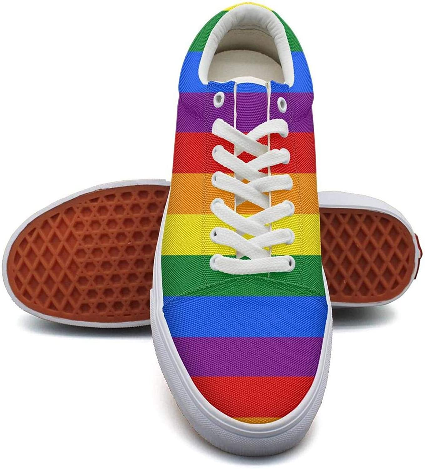 SYBING Womens Tennis Gay Pride Rainbow Flag Retro Slip on Canvas shoes