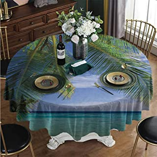 PINAFORE-HOME Round Oilcloth Tablecloth, Paradise View Maldives Waterproof Heavy Duty Farmhouse Tablecloth for Coffee Table Diameter - 79 Inch