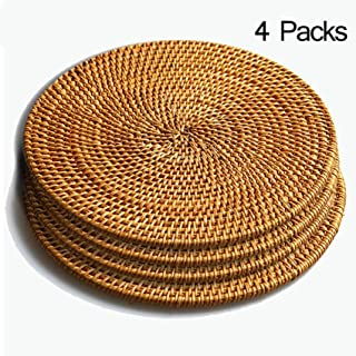 Rattan Trivets for Hot Dishes-Insulated Hot Pads,Durable Pot holder for Table, Pots, Pans & Teapots,Natural Wooden Heat Resistant Mats for Kitchen,Set of 4,Round 7.08