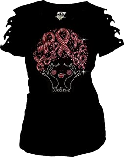 Bling Rhinestones Breast Cancer Lady with Ribbons T-Shirt Ripped Cut Out